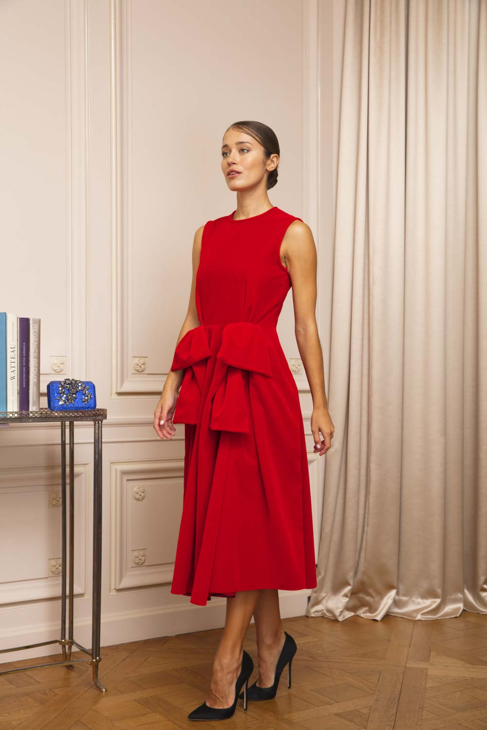 Flame red ruched dress in lightweight velvet