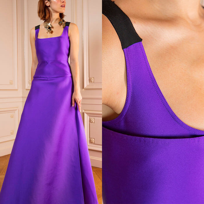 Ultra-violet floor-length gown in lustrous Duchesse-satin