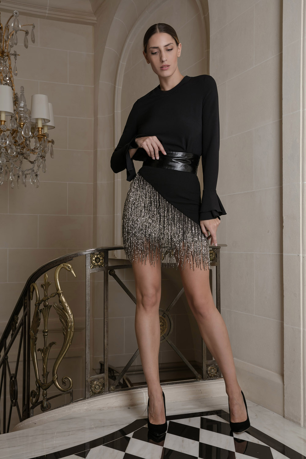 Black and shimmering silver mini skirt