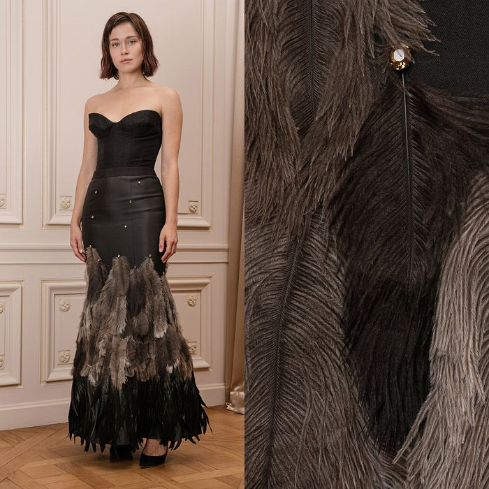 Black long skirt with feathers