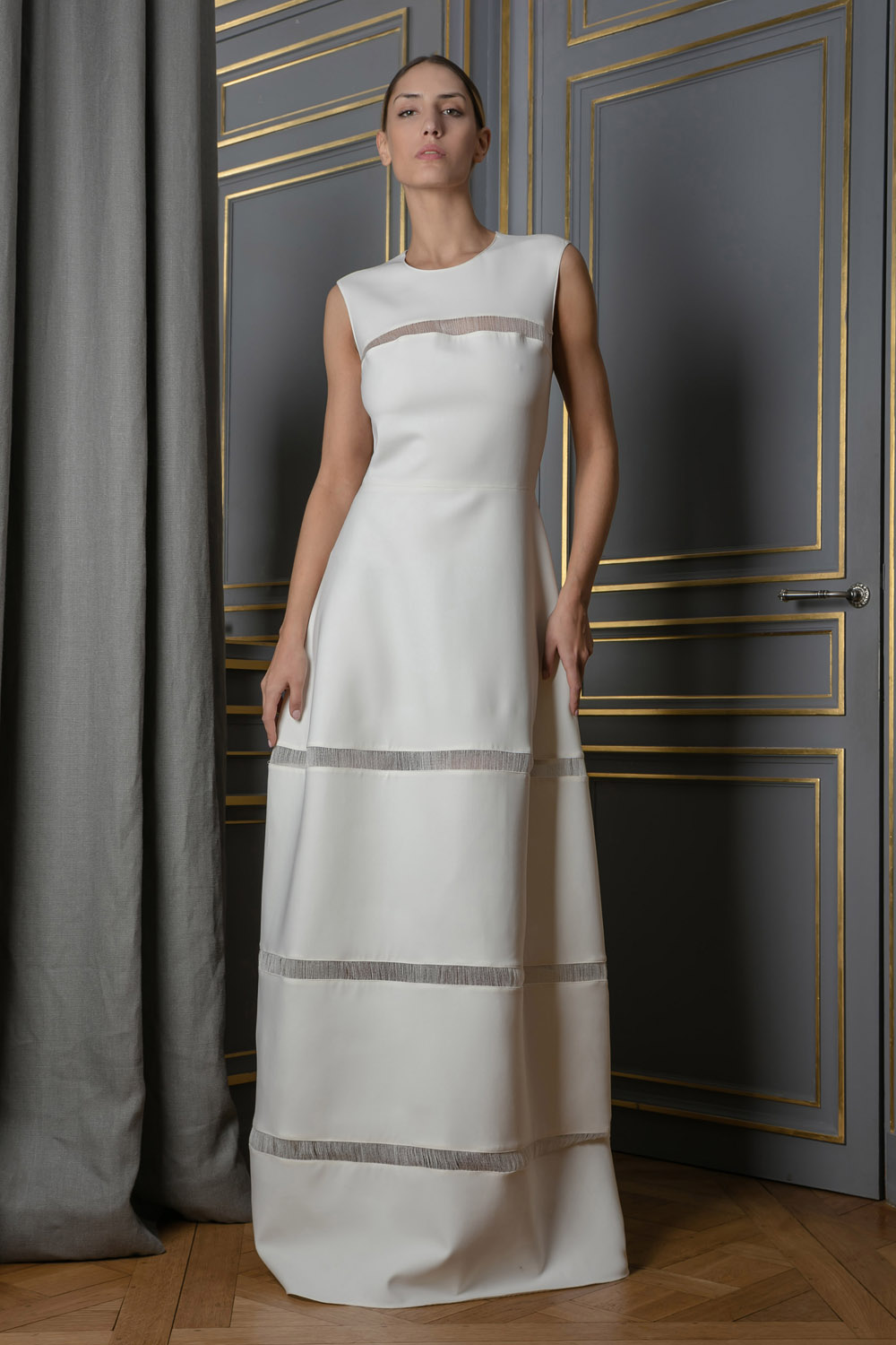 A-line ivory gown with sheer detailing