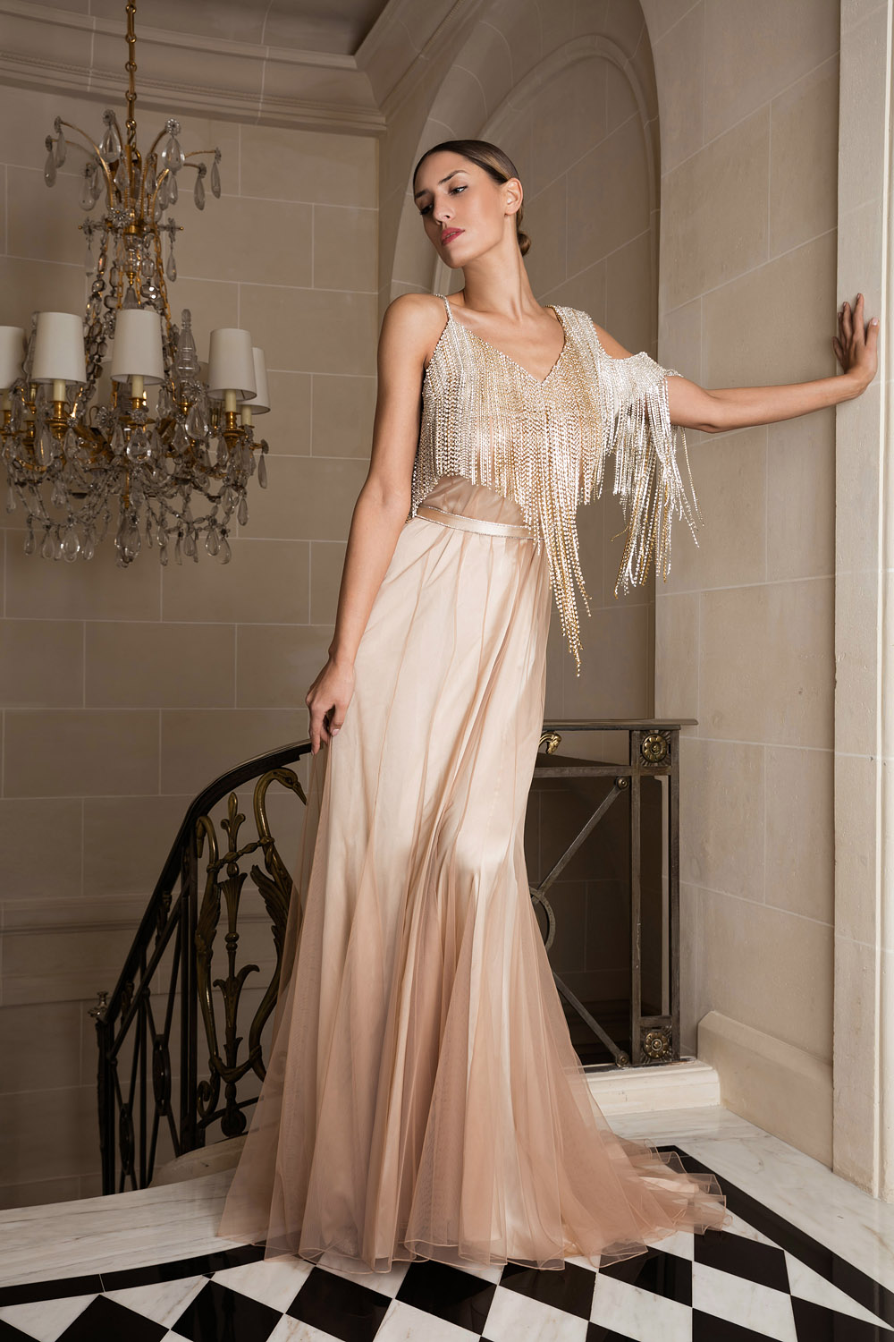 Exclusive ivory gown with an embroidered top