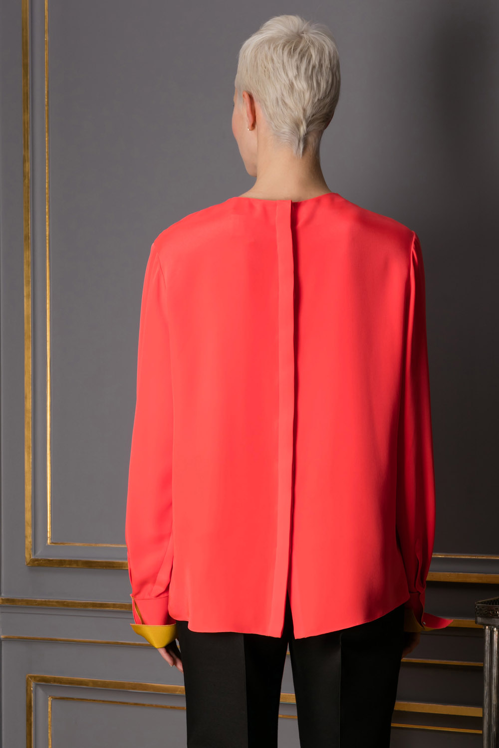 Coral silk top