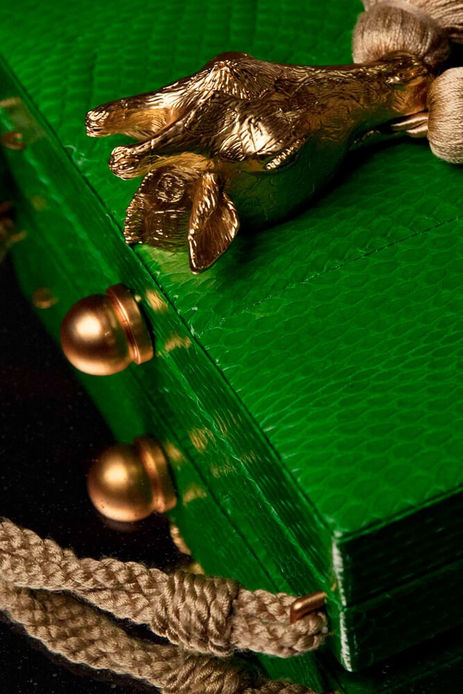 Emerald green leather box with giraffe clasp