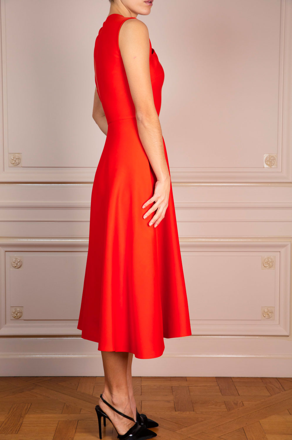 Fit-and-flare dress with asymmetric slashed neckline and gathered shoulder